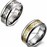 8mm Tungsten Carbide Celtic Dragon Inlay Ring Men's Anniversary Wedding Band