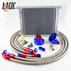 Universal 30 Row An-8 Engine Transmission Oil Cooler Filter Relocation Kit Blue