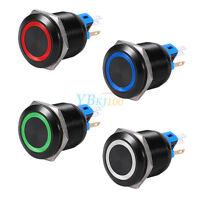 1Pc 22mm 19mm LED Self-locking Latching Push Button Switch 12V Black IP65 New