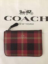 Coach Riley Plaid Key Pouch IM/True Red Multi  F55990 -   NWT