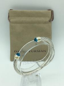 David Yurman Women's Cable Classics 5mm Bracelet with Blue Topaz & 14K Gold