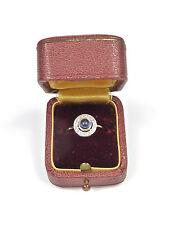 kleiner, alter Ring - mit Saphir + Altschliff-Diamanten - 585er Gold 14K