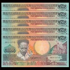 Lot 5 PCS, Suriname 250 Gulden, 1988, P-134, UNC