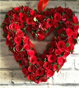 Artificial Red Heart Shaped Wreath in Red box Christmas Wreath Gift Door 36cm UK