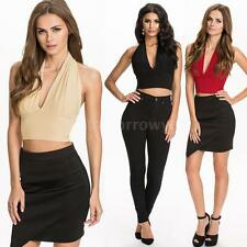 V Neck Blouses Fitted Cropped Tops & Shirts for Women
