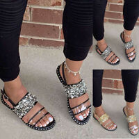 Summer Women Sequins Slippers Ladies Beach Flat Ankle Strap Buckle Sandals Shoes