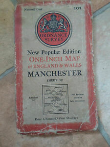 Vintage One-Inch Map England & Wales MANCHESTER Sheet 101 Dated 1947 Linen-Back