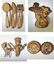 Lote de siluetas de madera DM cocina para pintar y decorar scrapbooking