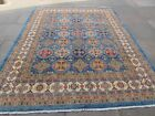 Traditional Hand Made Rugs Afghan Zigler Oriental Wool Blue Carpet 300x238cm