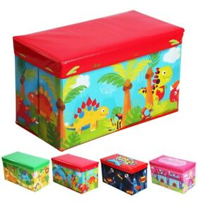 KIDS TOY BOX BOYS GIRLS BOOKS HOLDER CHEST OTTOMAN CLOTHES STORAGE STOOL LID