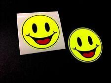 Fluorescente Feliz Smiley emoji coche Calcomanías Pegatinas de casco de motocicleta 2 50mm Off