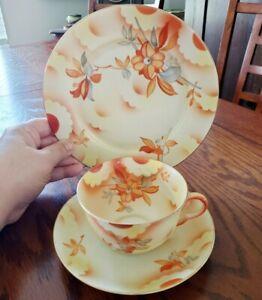 Arzberg Bavaria 3 Piece Cup Saucer Salad Plate Orange Gray Floral Mid Century