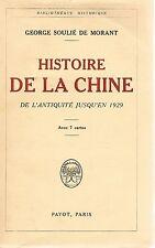 HISTOIRE DE LA CHINE ANTIQUITE A 1929 SOULIE DE MORANT + PARIS POSTER GUIDE