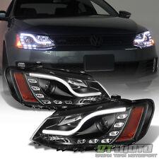 Black 2011-2017 VW Jetta MK6 LED DRL Tube Projector Headlights 11-17 Left+Right