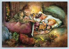 Little Girl & Boy go to bed with TOYS Dolls Mom by Lisi Martin NEW postcard