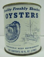 Orig Quality Fresh Shucked OYSTERS Tin Can 16oz Pint Clear Top Port Mahon Del