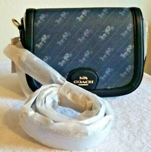 Coach Horse and Carriage Saddle Bag in Denim Blue Diagonal Dot and Navy Leather