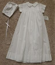 SARAH LOUISE CHRISTENING GOWN SLIP & BONNET SIZE 3 MONTHS WHITE HAND EMBROIDERED