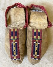 Antique PAIR of PRAIRIE MAN'S SOFT SOLE MOCCASINS, c. 1880s