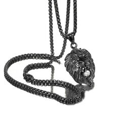 Necklace Rolo Chain with White Stone Men Black Stainless Steel Lion Head Pendant