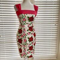 Betsy Johnson Sz 4 White Red Rose Mini Dress Seersucker Hot Pink Tie Bow Straps