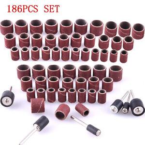 "186Pcs Sanding Bands Sleeves&Drum Mandrels Set 80-600 Grit 1/2"",3/8"",1/4"" Mixing"
