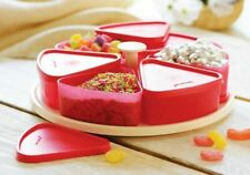 PACK OF TUPPERWARE SIX WEDGED SHAPED COMPARTMENTS WITH ROTATING TURN TABLE