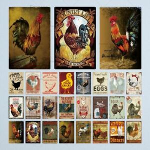Vintage Farmhouse Tin Metal Sign Farm Rooster Chicken and Eggs Wall Art Decor