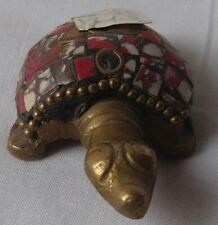 Brass tiny turtle statue animal figurine hand crafted miniature table home decor