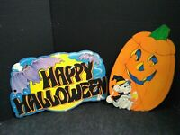 Vintage Die Cut Halloween Flocked Fuzzy  Decorations 2 Sided lot of 2