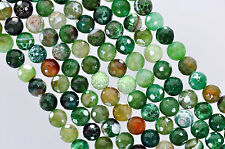1 Strand Round FACETED EMERALD CITY Green Agate Beads, 10mm  Gemstones gag0090