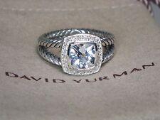 DAVID YURMAN PETITE ALBION 7MM WHITE TOPAZ DIAMOND STERLING SILVER RING SZ 7