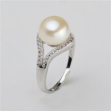 Chic Freshwater Pearl Fashion Women 925 Silver Party Jewelry Lady Ring Gift