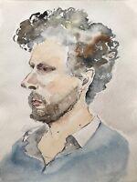 Aquarell Portrait Mann mit Bart und braunen Locken 30 x 40 cm