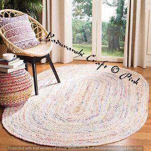 White Bohemian Floor Dhurrie Natural Jute Cotton Area Rugs Rectangle Fiber Mats