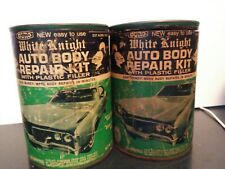 2 CANS VINTAGE 70S BLACK KNIGHT AUTO BODY REPAIR KIT 1 NEVER OPENED 1 OPEN.