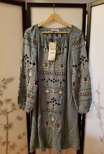 ZARA EMBROIDERED DENIM TUNIC DRESS 0881/031 Size XS