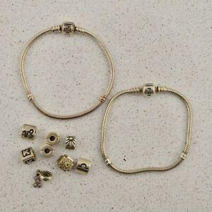 BULK LOT 2 x Pandora Bracelets (18 & 19cm) and 8x charms in Sterling Silver