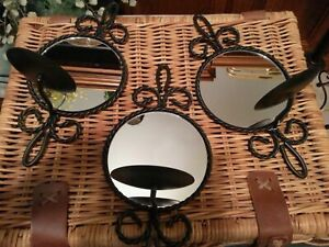SET OF 3 BLACK WROUGHT IRON MIRROR CANDLE HOLDERS   ............................