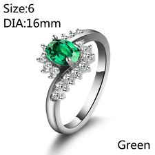 Women Sapphire Zircon Silver Plated Bride Wedding Ring Engagement Jewelry Gifts Green 7
