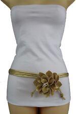 New Women Gold Skinny Faux Leather Fabric Wrap Around Fashion Flower Belt XS S M