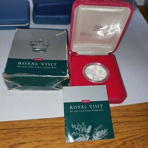 BOXED 2000 AUSTRALIA SILVER 99.9% PROOF 50 CENT COIN ROYAL VISIT + CERTIFICATE