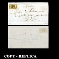 France 1850 Cover 10c greenish bister,horizontal  rare Tete-Beche pair YT1, Copy