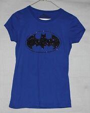 DC Comics Women's blue t-shirt with black glitter batman logo SIZE XS