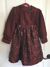 Girls Vtg Ivy House s 8 Maroon Silver Long Christmas Holiday Wedding Party Dress
