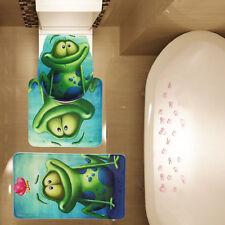 Smile Funny Frog Pattern Bath Mat Contour Mat Toilet Cover Non Slip 3 Pcs