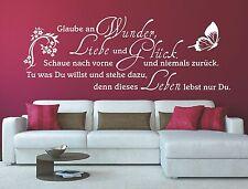 G297 WANDTATTOO Spruch Glaube an Wunder Liebe und Glück Wandaufkleber Zitat