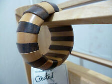 Fair Trade Brown Stripe Chunky Wooden Bangle Ethical Elasticated Segments