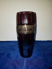 Walther Glas Vase Amethyst facettiert Gold Fries Moser