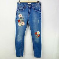 Zara Woman Size 4 Denim Blue Jeans Floral Embroidery Boho Festival
